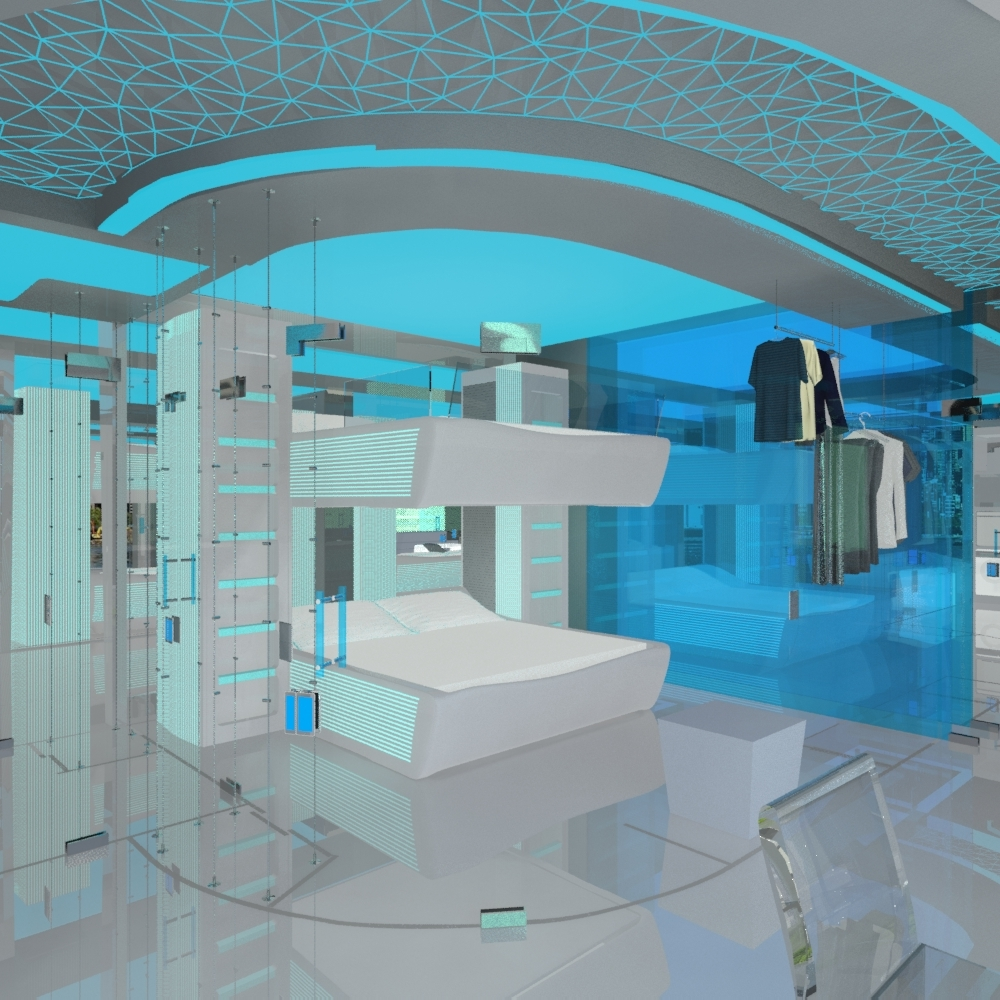 Jovoto future space smart room hotel room 2022 for Future bedroom designs