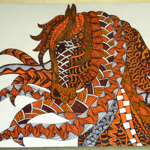 Zentangle freehand drawing with pen and pencil...