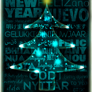Blue Happy New Year Xmas UNICEF card