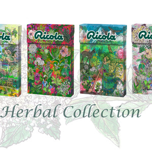 4 designs: herb fairy, summer breeze in the city, alphorn, herbs