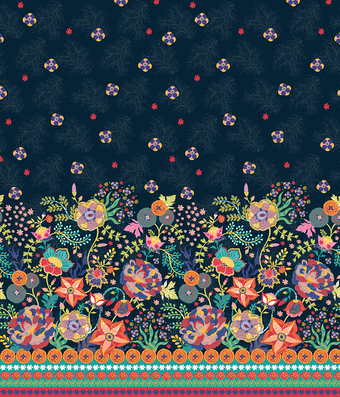 Fizah border sf floral width340