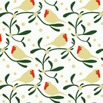 Festive pattern with mistletoes and birds.