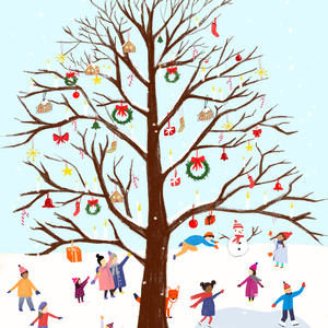 Celebrating under the Giving Tree.